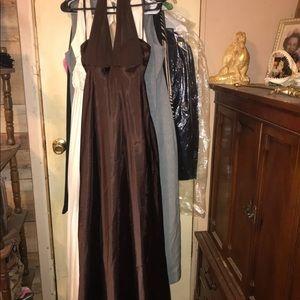 Chocolate satin cinched halter dress